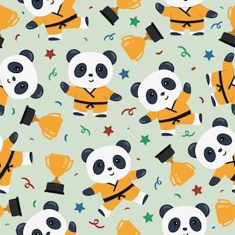 Modèle sans couture de dessin animé mignon panda karaté