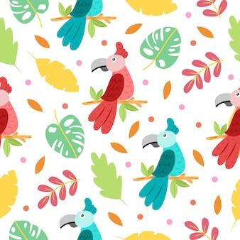 Modèle sans couture de dessin animé mignon perroquet