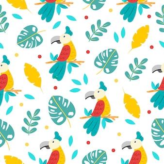 Modèle sans couture de dessin animé mignon perroquets