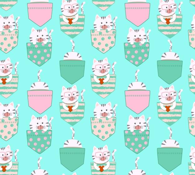 Modèle sans couture dessin animé mignon petit chat kitty blanc et gris