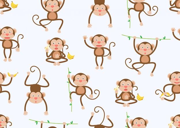 Modèle sans couture de dessin animé mignon de petits singes dans des poses différentes