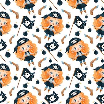 Modèle sans couture de dessin animé mignon pirates filles