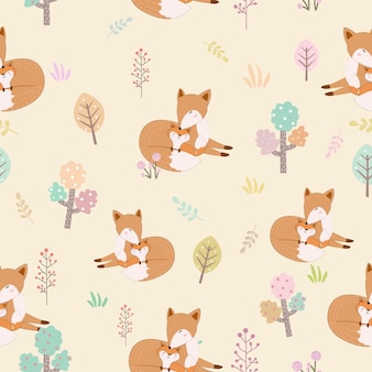 Modèle sans couture dessin animé mignon renard maman et bébé.