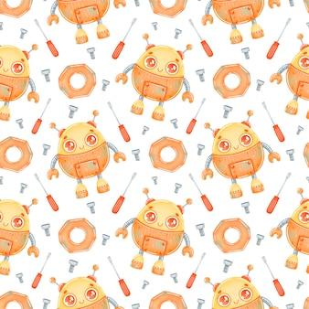 Modèle sans couture de dessin animé mignon robot orange
