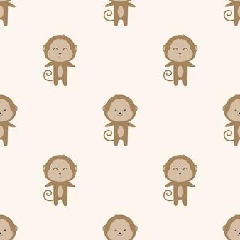 Modèle sans couture de dessin animé mignon singe
