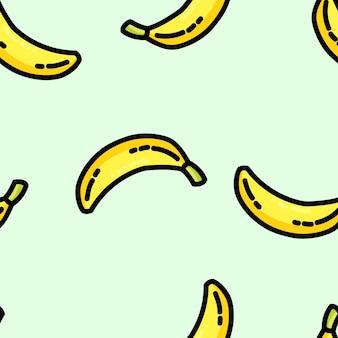 Modèle sans couture de dessin animé mignon style plat banane
