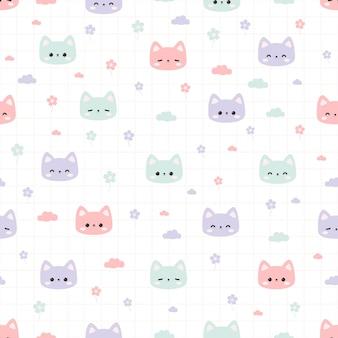 Modèle sans couture avec dessin animé mignon tête de chat minou