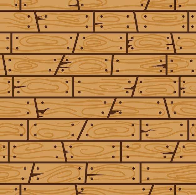 Modèle sans couture de dessin animé de mur en bois brun.