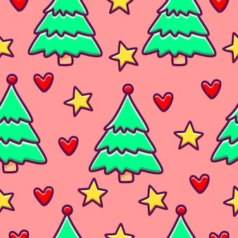 Modèle sans couture de dessin animé de noël avec des arbres, des étoiles et des coeurs