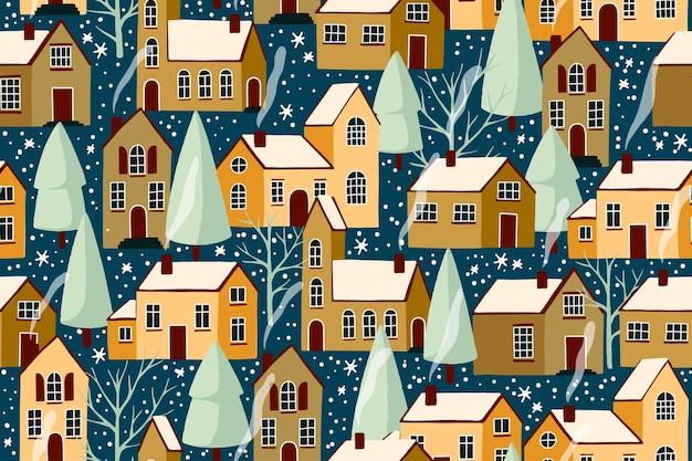 Modèle sans couture de dessin animé de noël hiver ville.