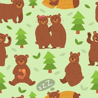 Modèle sans couture de dessin animé ours personnage pose différente vector