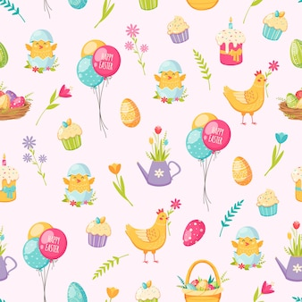 Modèle sans couture de dessin animé de pâques avec des ballons de gâteau et des oeufs