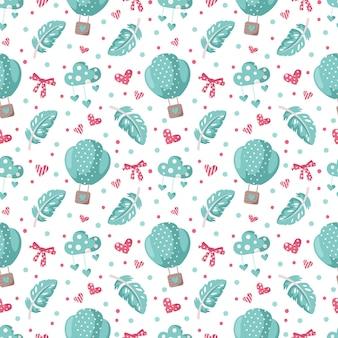 Modèle sans couture de dessin animé de la saint-valentin - ballon à air chaud mignon, arc, plume et coeur, papier numérique de crèche en couleur rose et menthe poivrée, fond pour textile pour enfants, scrapbooking, papier d'emballage