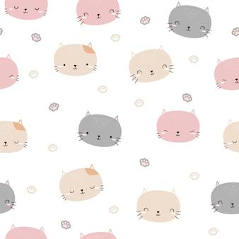 Modèle sans couture de dessin animé tête chat chaton mignon doodle