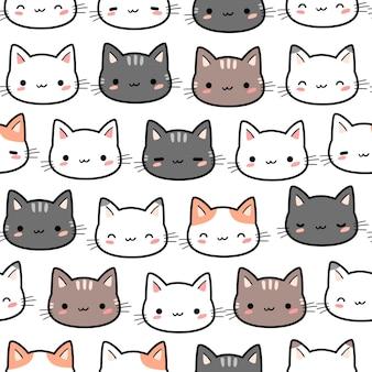 Modèle sans couture de dessin animé tête de chat mignon chaton doodle