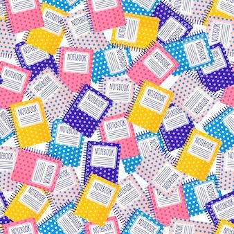 Modèle sans couture de dessin animé de vecteur avec des cahiers colorés pour le web, l'impression, la texture du tissu ou le papier peint.