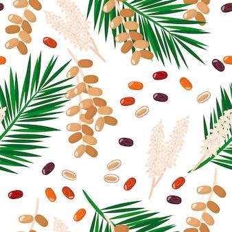 Modèle sans couture de dessin animé de vecteur avec des fruits exotiques de fruits date, des fleurs et des feuilles sur fond blanc