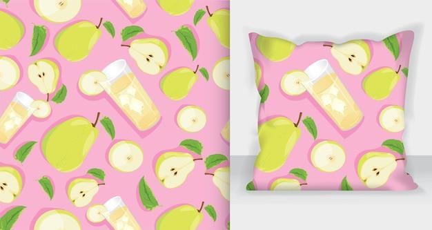 Modèle sans couture de dessin animé de vecteur avec des fruits exotiques de poire, des fleurs et des feuilles sur fond rose pour le web, l'impression, la texture du tissu ou le papier peint.