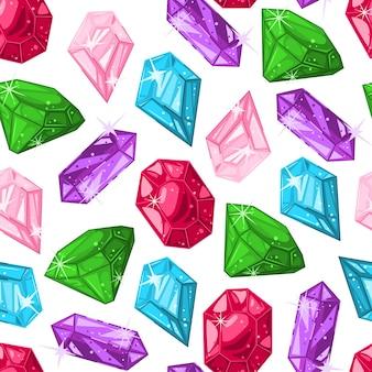 Modèle sans couture de dessin animé de vecteur de pierres de diamant sur un fond blanc.