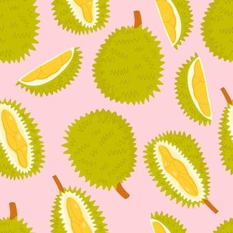 Modèle sans couture de dessin animé vecteur plat avec durian.