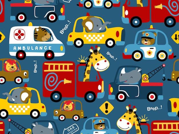 Modèle sans couture de dessin animé de véhicules avec conducteurs drôles