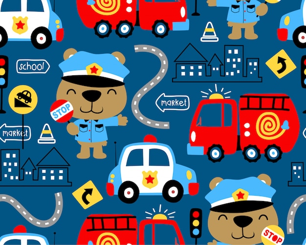 Modèle sans couture de dessin animé de véhicules avec policier drôle