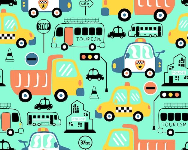 Modèle sans couture avec dessin animé de véhicules