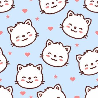 Modèle sans couture de dessin animé visage de chat mignon