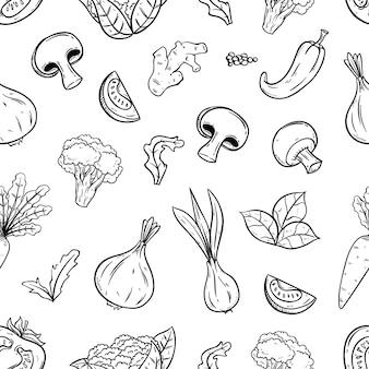 Modèle sans couture dessiné avec des légumes à la main