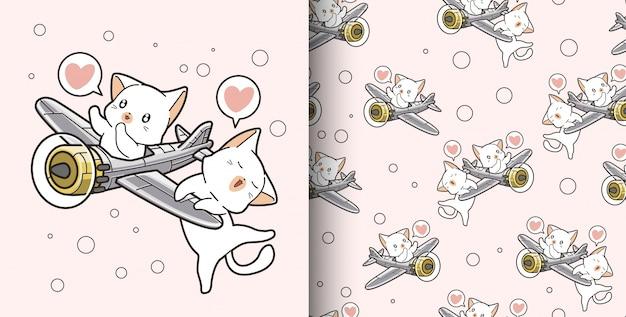Modèle sans couture dessiné à la main 2 chats kawaii montent à bord d'un avion