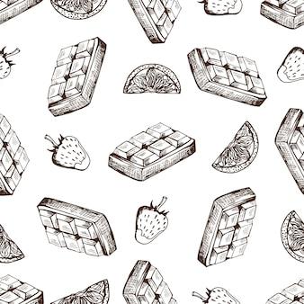 Modèle sans couture dessiné main au chocolat