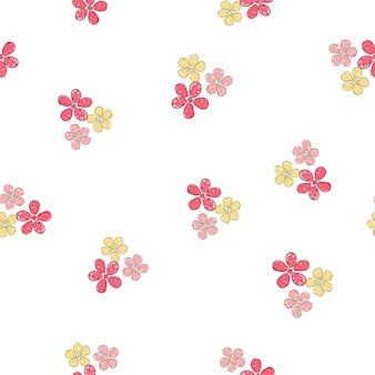 Modèle sans couture dessiné à la main de belles fleurs design fond d'impression pour l'ornement textile et tissu
