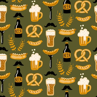 Modèle sans couture dessiné de main avec de la bière et de la nourriture.