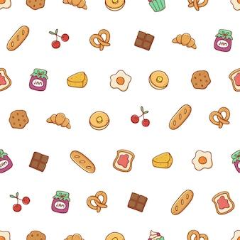 Modèle sans couture dessiné de main boulangerie et dessert
