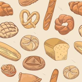Modèle sans couture dessiné à la main de boulangerie