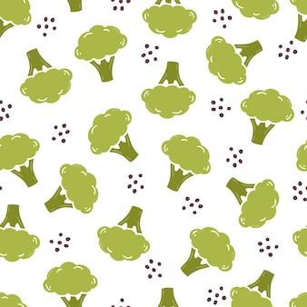 Modèle sans couture dessiné main de brocoli simple
