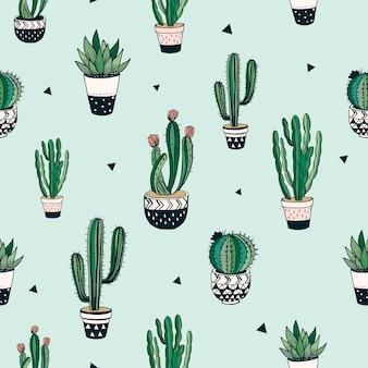 Modèle sans couture dessiné de main avec des cactus et des plantes succulentes