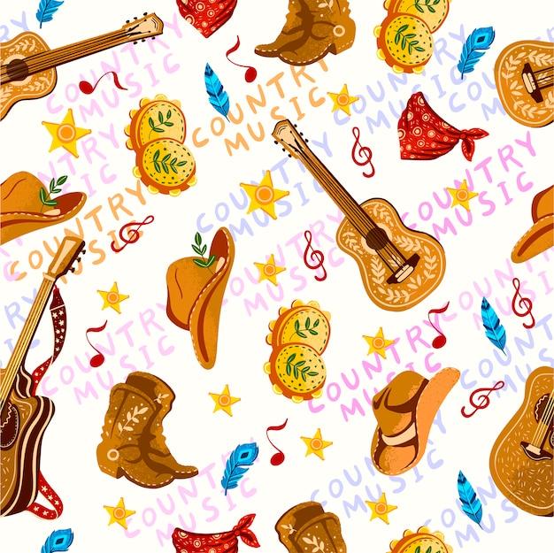 Modèle sans couture dessiné à la main avec un chapeau de cowboy, guitare, bandana, bottes, tambourin et étoiles