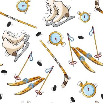 Modèle sans couture dessiné à la main avec chronomètre ski de neige et patins à bâton dans le style de croquis de doodle