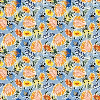 Modèle sans couture dessiné main coloré avec des feuilles de fleurs, monstera tropical, feuillage.