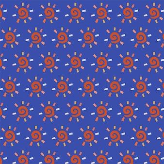 Modèle sans couture dessiné main coloré avec symbole de soleil