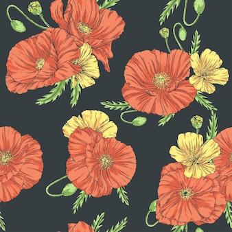 Modèle sans couture dessiné main dans un style vintage avec des coquelicots et des fleurs sauvages sur un fond sombre.