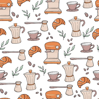 Modèle sans couture dessiné main de différents types de tasses à café