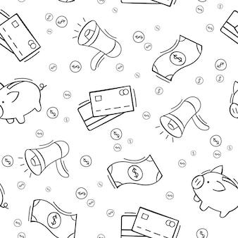 Modèle sans couture dessiné main d'éléments commerciaux et financiers