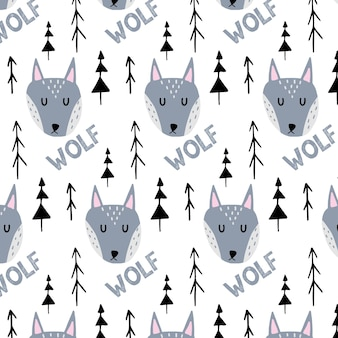Modèle sans couture dessiné à la main enfantin avec le loup gris et les arbres