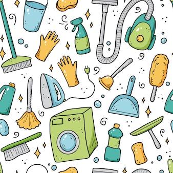Modèle sans couture dessiné à la main des équipements de nettoyage, éponge, aspirateur, spray, balai, seau. style de croquis de doodle.