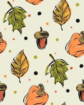 Modèle sans couture dessiné main avec des feuilles d'automne tombent, des citrouilles et des glands sur fond de couleur à pois.