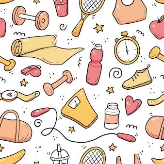 Modèle sans couture dessiné main de fitness, équipements de gym. style de croquis de doodle. s