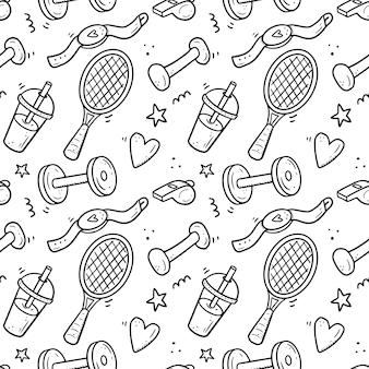 Modèle sans couture dessiné main de fitness, équipements de gym. style de croquis de doodle.