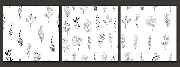 Modèle sans couture dessiné main avec fleur et feuilles